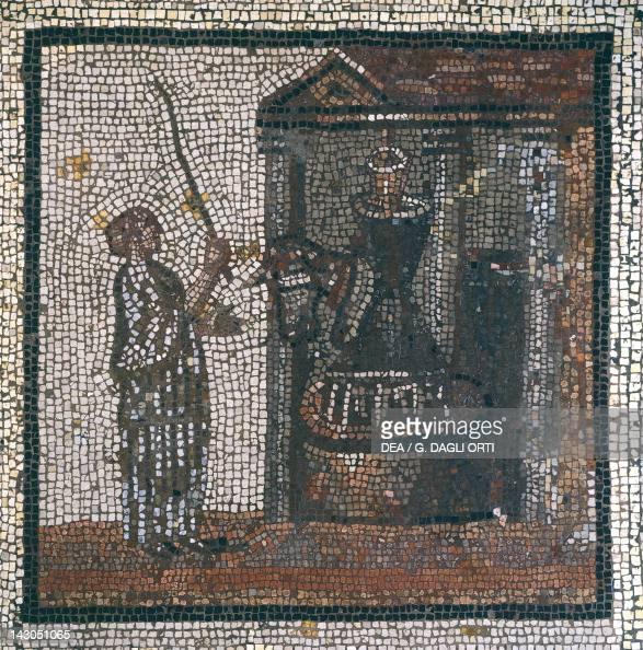 Mosaic depicting a a wine press from St Romain en Gal France GalloRoman Civilization 3rd Century Saint GermainEnLaye Musée Des Antiquités Nationales