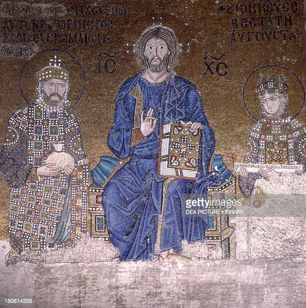 Mosaic depicting Christ on the throne with the Empress Zoe and the right to her third husband the Emperor Constantine IX Monomachus the first half of...
