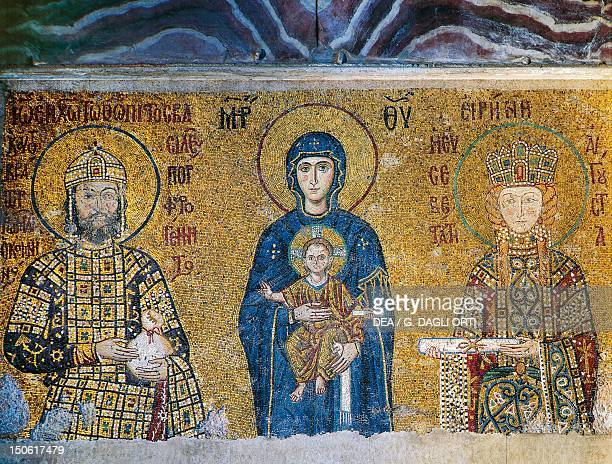 Mosaic depicting the Madonna and Child with Emperor John II Comnenus and Empress Irene late 12th century Hagia Sophia tribune historic areas of...