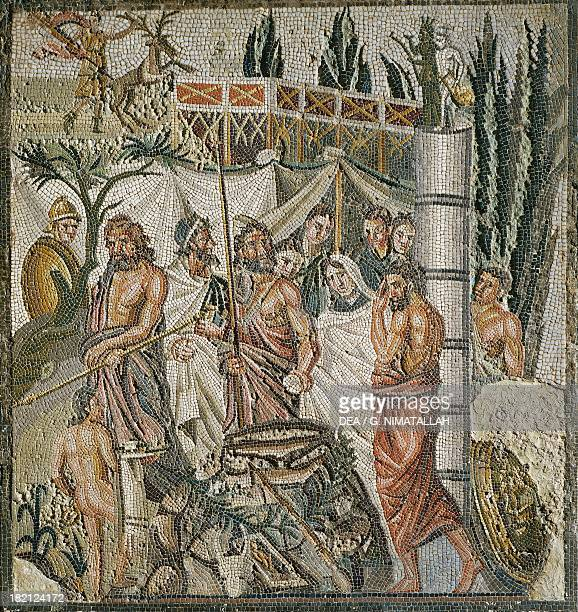 Mosaic depicting the sacrifice of Iphigenia artefact uncovered in Ampurias Spain Hellenistic Civilisation 4th1st century BC Ampurias Museo...