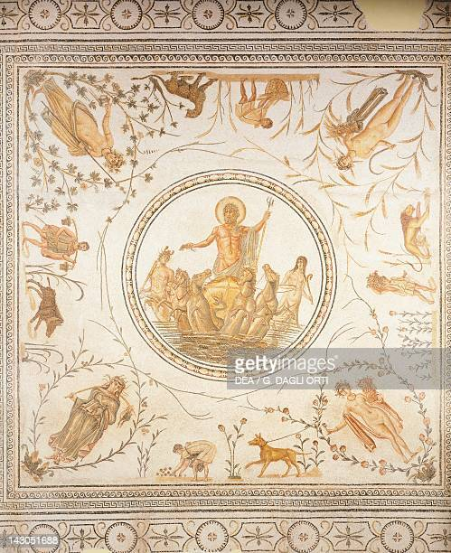 Mosaic depicting the Triumph of Neptune and the Four Seasons from The Chebba Tunisia Roman Civilization 2nd Century Tunis Musée National Du Bardo
