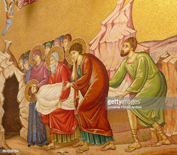Mosaic depiction of Christ's body being prepared after his death Church of the Holy Sepulchre Jerusalem For Orthodox Christians this church in the...