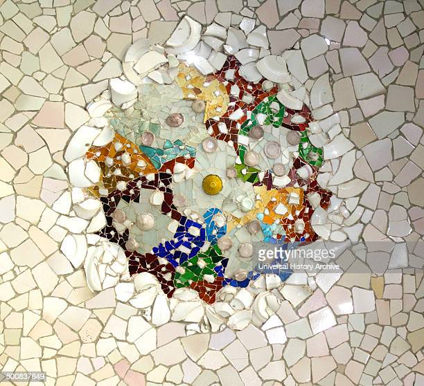 Mosaic designed for Antoni Gaudi's Parc Guell Barcelona Spain Park Güell is a garden complex with architectural elements situated on the hill of El...
