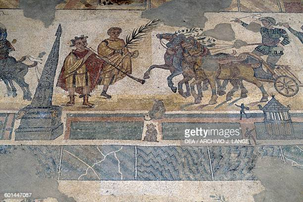 Mosaic floor depicting the Quadriga race in the Circus maximus from the palaestra Villa Romana del Casale Piazza Armerina Sicily Roman Civilization...