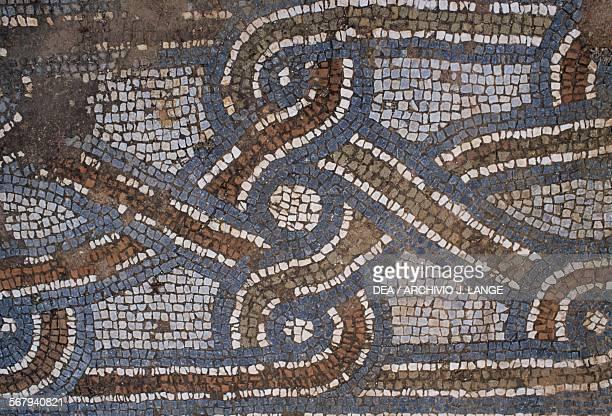 Mosaic floor with geometrical patterns 6th century AD early Christian basilica of Agios Nikitas Frangokastello Crete Greece Detail