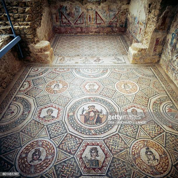 Mosaic floor with the Erotic scene from the cubicle with erotic scene in the Circus maximus from the palaestra Villa Romana del Casale Piazza...