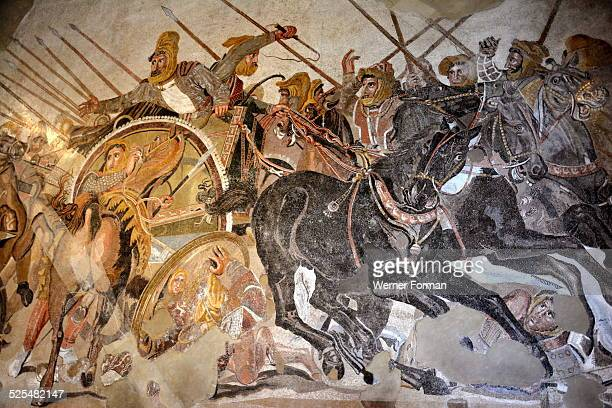 Mosaic from the House of the Faun depicting the Battle of Issus Detail of Darius III of Persia in his chariot The charioteer is trying to control the...
