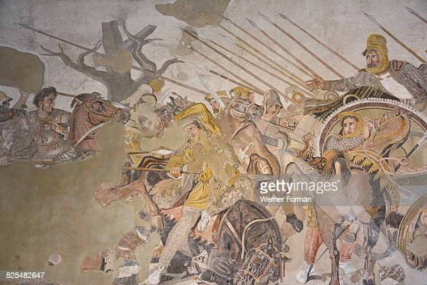 Mosaic from the House of the Faun depicting the Battle of Issus Alexander the Great can be seen at the left of the scene on his horse Bucephalos...