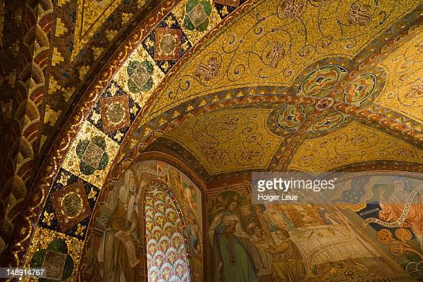 Mosaic in Elisabethkemenate Elizabeth bower in Wartburg medieval castle.