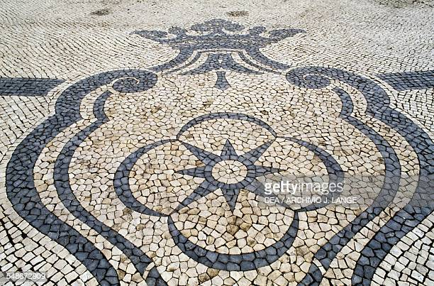 Mosaic in Marques de Pombal square Lisbon Historical Province of Extremadura Lisbon Portugal Detail