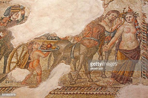Mosaic in the archaeological park of Paphos in the Greek part of the island of Cyprus The mosaic depicts a solemn procession of the young Dionysos...