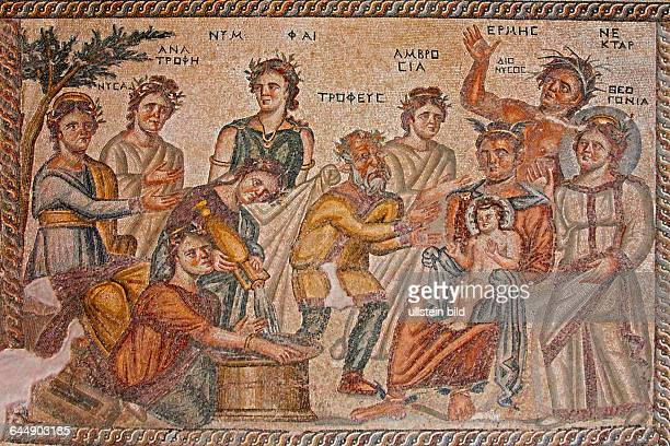Mosaic in the archaeological park of Paphos in the Greek part of the island of Cyprus The scene represents the moment at which baby Dionysos seated...