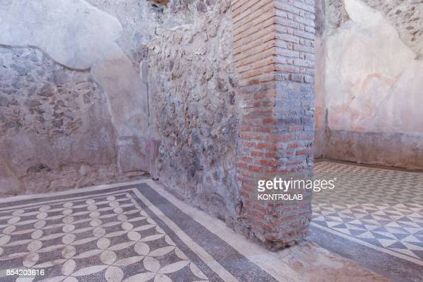A mosaic in the Championnet Villa reopened after restoration in the archaeological area of Pompeii the ancient Roman town buried in 79 AD by the...