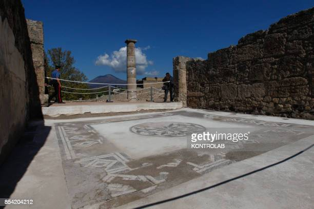 A mosaic in the House of the Sailor reopened after restoration in the archaeological area of Pompeii the ancient Roman town buried in 79 AD by the...