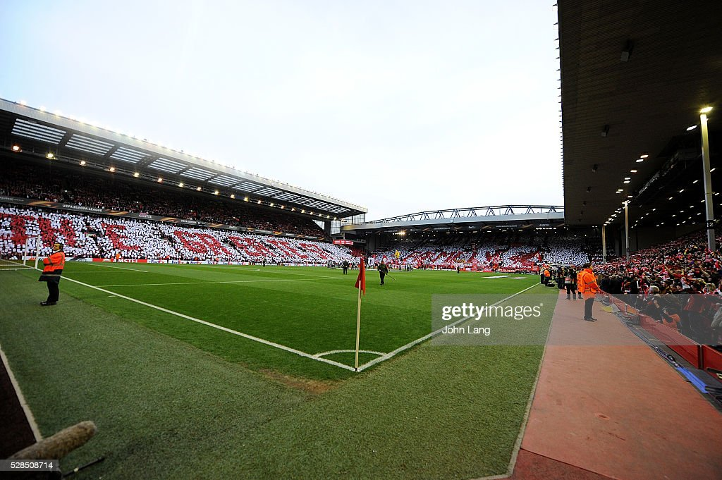 A mosaic is held in the stands today before the UEFA Europa League Semi Final: Second Leg match between Liverpool and Villarreal CF at Anfield on May 05, 2016 in Liverpool, England.