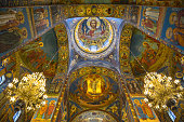 Mosaic murals in the Church of the Resurrection of Christ in St. Petersburg.