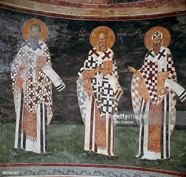 Mosaic of Byzantine fathers of the church in the apse of the Patecclesion in the Church of St Saviour in Chora Istanbul