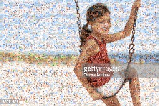 Mosaic of Child Near Beach : Stock Photo