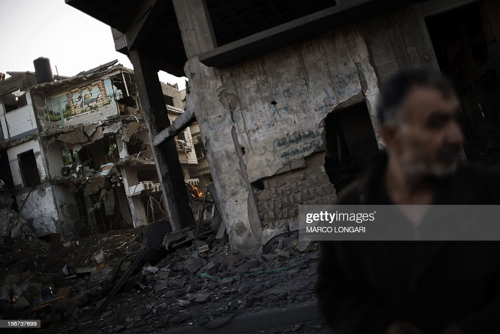 A mosaic of Jerusalem's Dome of the Rock is seen intact on a wall of a house destroyed in an Israeli airstrike on November 20, 2012. Israeli leaders discussed an Egyptian plan for a truce with Gaza's ruling Hamas, reports said, before a mission by the UN chief to Jerusalem and as the toll from Israeli raids on Gaza rose over 100.