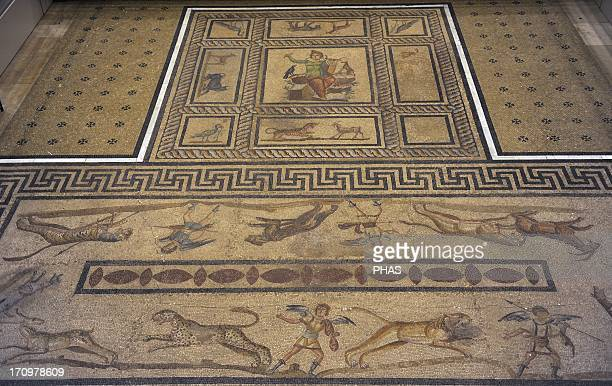 Mosaic of Orpheus 200 AD Of a private room dining room or triclinium of a roman domus From Miletus Pergamon Museum Berlin Germany