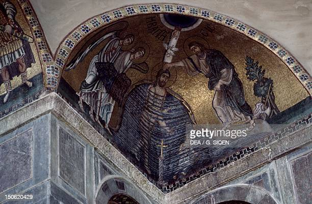 Mosaic of the Baptism of Christ in Hosios Loukas Monastery Greece founded in the early 10th century