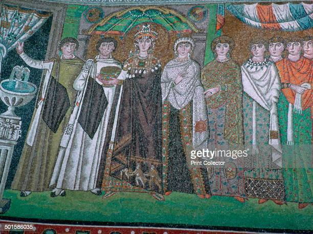 Mosaic of Theodora Empress of Justinian I and her court in San Vitale 6th century