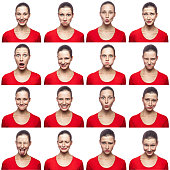 Mosaic of woman with freckles expressing different emotions expressions. The woman with red t-shirt with 16 different emotions. isolated on white background. studio shot.