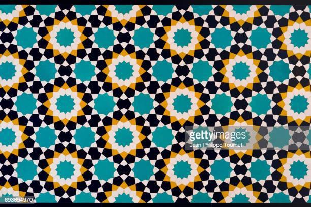 Mosaic pattern on a wall near Shah-e-Cheragh Mausoleum in Shiraz, Fars Province, Iran