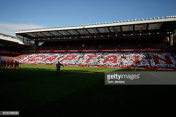A mosaic spells out Captain before Steven Gerrard's final game at Anfield the Liverpool v Crystal Palace FA Premier League match at Anfield on May...