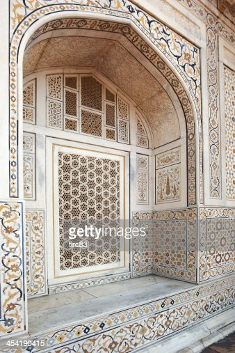 Mosaic tile pattern on Indian temple : Stock Photo