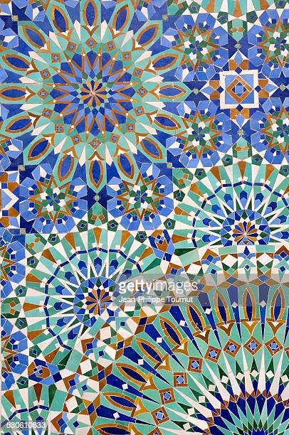 Mosaic tiles of Hassan II Mosque in Morocco