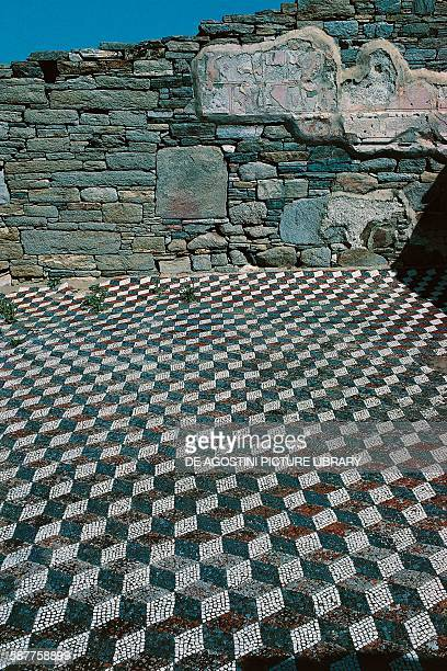 Mosaic with a geometric design Delos island Greece Greek civilisation