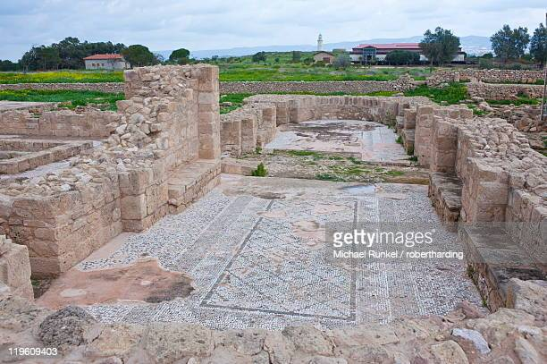 Mosaics at the archaeological site, Paphos, UNESCO World Heritage Site, Cyprus, Europe
