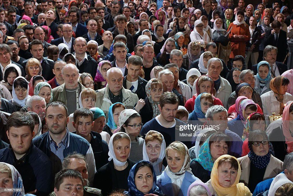 Moscovits attend an Orthodox Easter mass at the Christ The Saviour Catherdal, in Moscow, Russia, May,1, 2016. Russian President <a gi-track='captionPersonalityLinkClicked' href=/galleries/search?phrase=Vladimir+Putin&family=editorial&specificpeople=154896 ng-click='$event.stopPropagation()'>Vladimir Putin</a>, Moscow Mayor Sergei Sobyanin, Prime Minister Dmitry Medvedev and his wife Svetlana took part an Orthodox Easter service held by Patriarch Kirill at the biggest Russian Orthodox Cathedral.