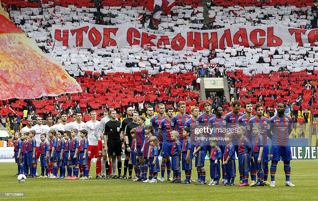 Moscow and FC Spartak Moscow players line up during the national anthem before the start the Russian Premier League match between PFC CSKA Moscow and FC Spartak Moscow at the Luzhniki Stadium on April 21, 2013 in Moscow, Russia.
