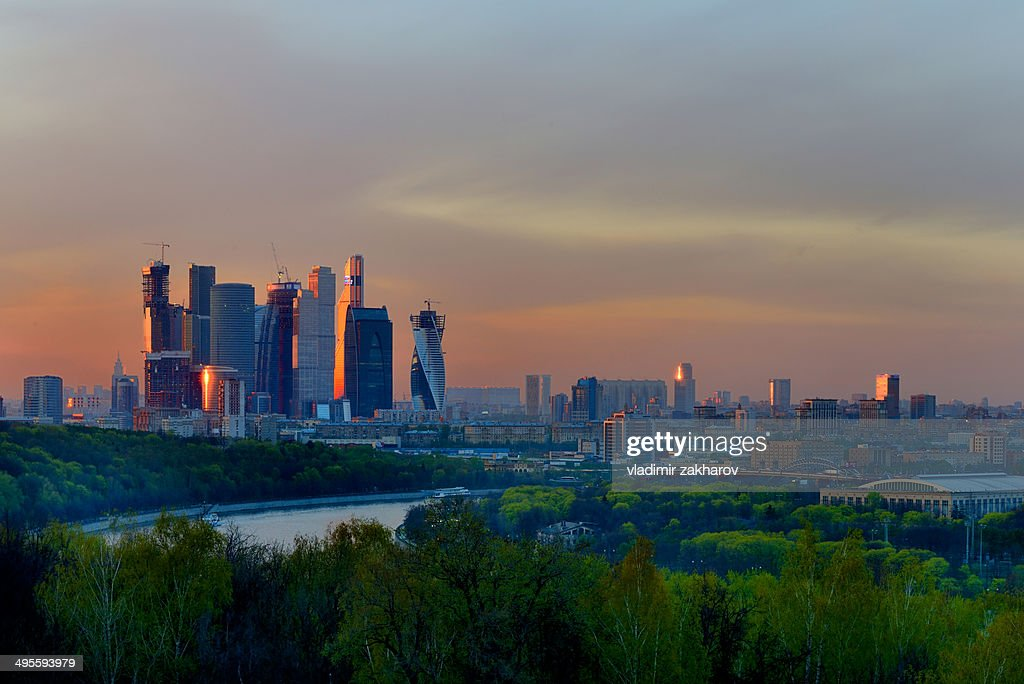 Moscow City and Sparrow Hills at sunset : Stock Photo
