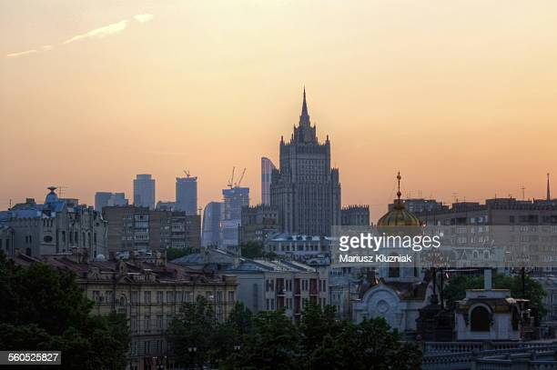 Moscow city Seven Sisters skyline sunset