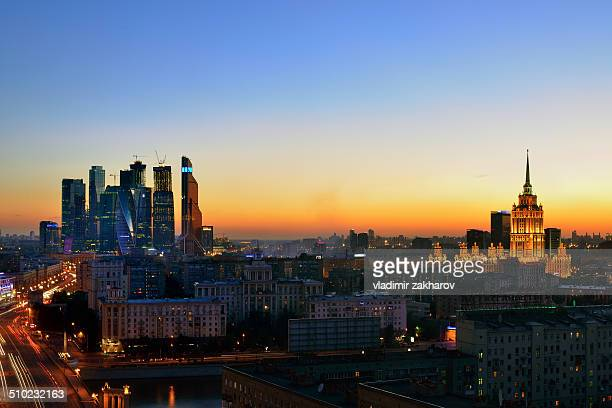 Moscow City skyline at sunset