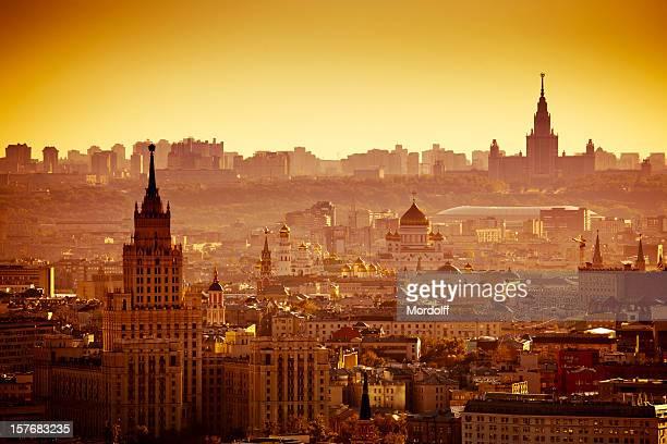 Moskau Stadt bei Sonnenuntergang. Vogelperspektive