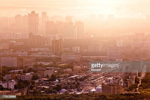 Moskau Stadt im Sonnenuntergang