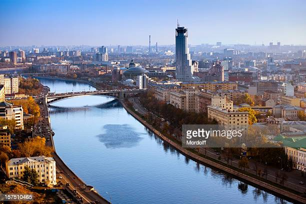 Moscow cityscape with river