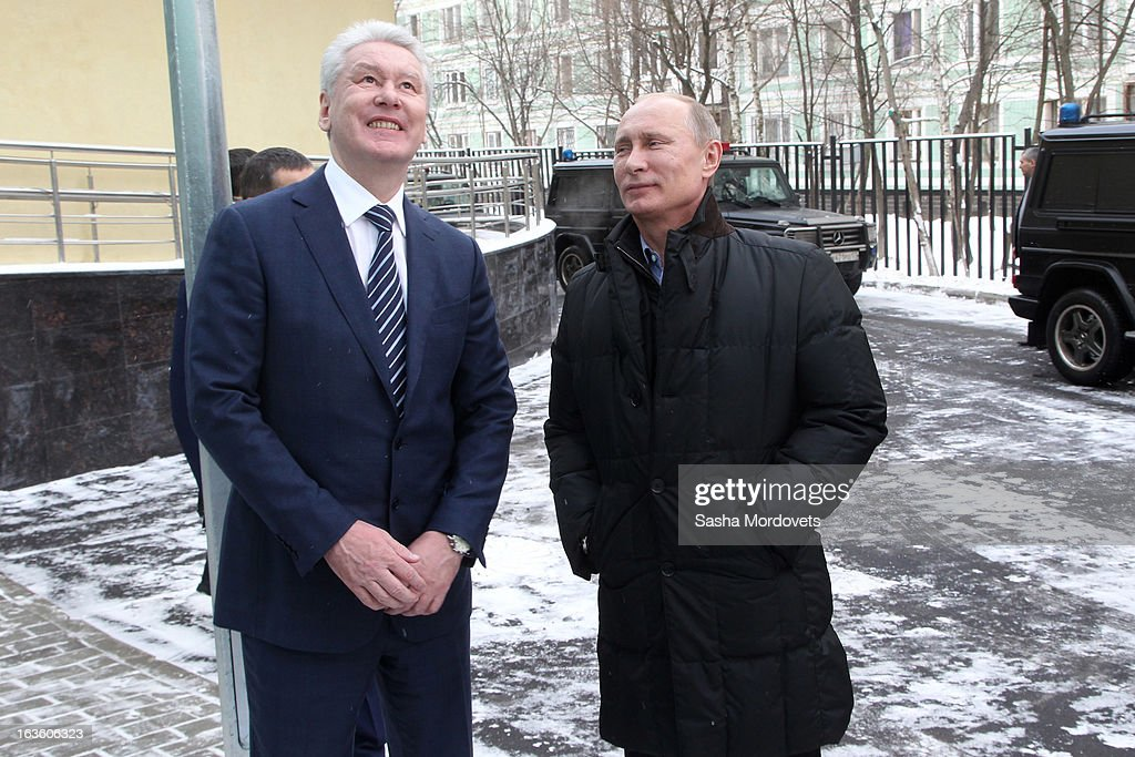 Moscow Mayor Sergey Sobyanin (L) and Russian President <a gi-track='captionPersonalityLinkClicked' href=/galleries/search?phrase=Vladimir+Putin&family=editorial&specificpeople=154896 ng-click='$event.stopPropagation()'>Vladimir Putin</a> visit Sambo-70, a Russian martial art and combat sport school, March 13, 2013 in Moscow, Russia. Putin and U.S. actor Steven Seagal were the guests of honor at the opening of the center.