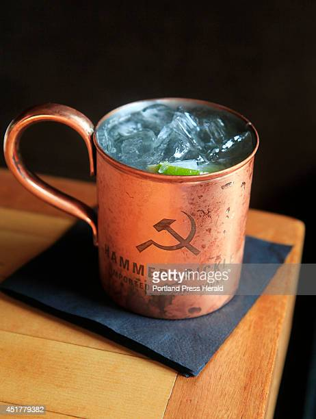 Moscow Mule made with ginger beer freshsqueezed lime juice and Hammer Sickle imported Russian vodka served in a copper cup at Anneke Jans in Kittery...