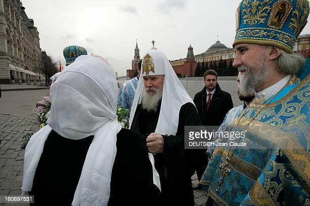 Moscow Patriarch Alexis Ii ALEXIS II primat de l'église orthodoxe russe coiffé du 'klobouk' orné des trois chérubins brodés de fils d'or et d'argent...