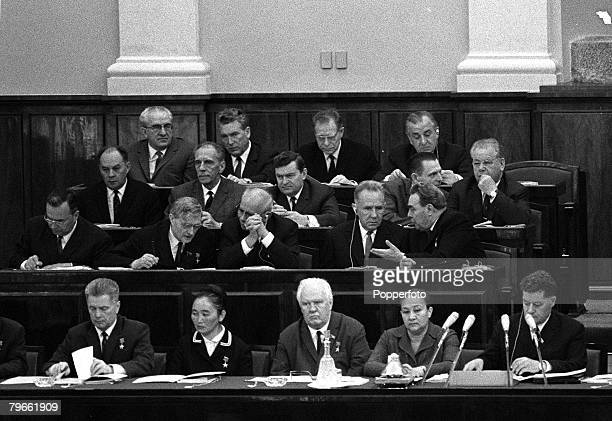 Moscow Russia 15th July 1970 Joint session of the Supreme Soviet Committee as Secretary of the Communist Party Leonid Brezhnev uses his left hand to...