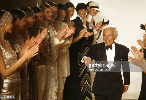 US designer Ralph Lauren is greeted after his fashion show in the Spaso House US Ambassador's residence in Moscow 15 May 2007 AFP PHOTO/ POOL/...