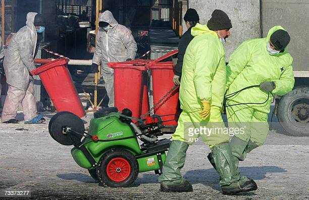Veterinary surveillance workers wearing protective suits and masks carry their equipment as they prepare to burn infected birds at a poultry market...