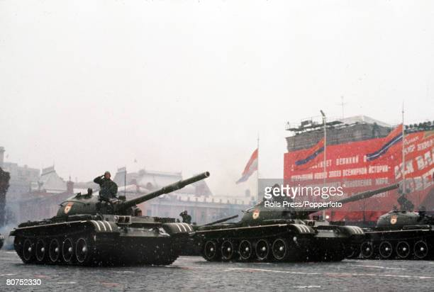 Moscow Soviet Union November 1971 Tanks on parade during the annual November parade in Red Square