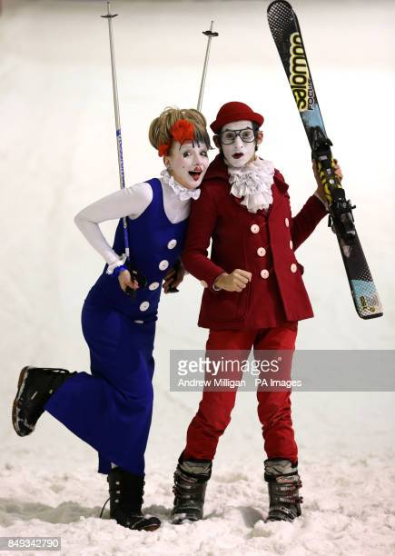Moscow State Circus clowns Pavel Ivanov and Klava Voevodkina during a photocall at the Snowscape at Xscape Braehead Their latest show Babushkin...