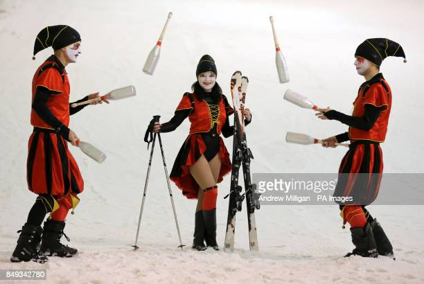 Moscow State Circus jugglers leftright Valeriy Shcherbakov Olga Alexanderova and Mikhail Matushin during a photocall whilst skiing at the Snowscape...